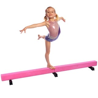 Costway 8FT Suede Training Floor Balance Beam Gymnastics Equipment Kids Practice Pink