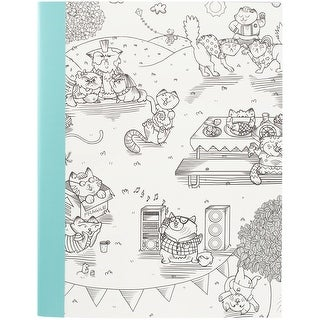 "Hall Pass Adult Coloring Composition Notebook 7.5""X9.75""-Kitty Karaoke"