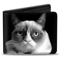 Grumpy Cat Pose Black White Bi Fold Wallet - One Size Fits most