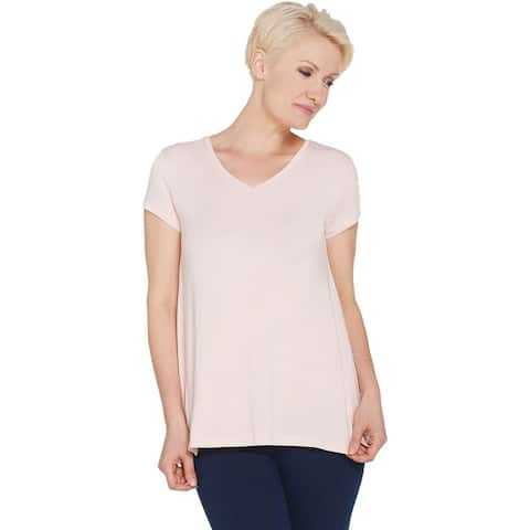 H by Halston Womens Plus V-Neck Top with Forward Notch Detail 3X Pink A306231