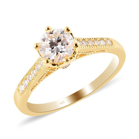 Shop LC Vermeil Yellow Gold Over 925 Silver Moissanite Ring Ct 1.2