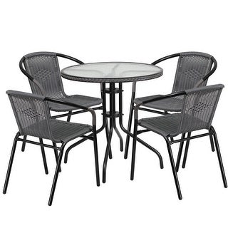 Skovde Round 28'' Glass Metal Table w/Gray Rattan Edging and 4 Gray Rattan Stack Chairs for Restaurant/Bar/Pub/Patio