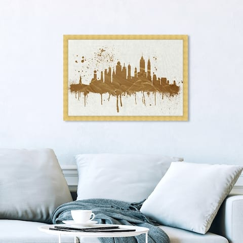 Oliver Gal 'Gold NY Skyline' Cities and Skylines Framed Wall Art Prints United States Cities - Gold, White