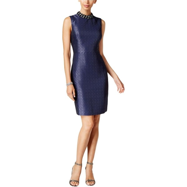 28484cd90b1 Shop Ivanka Trump Womens Party Dress Jacquard Embellished Navy 8 - Free  Shipping Today - Overstock - 18415210