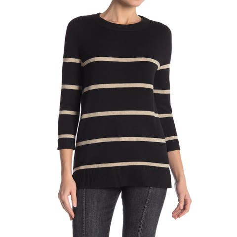 Bobeau Womens Sweater Black Biege Size Large L 3/4 Sleeve Crewneck Stripe 743