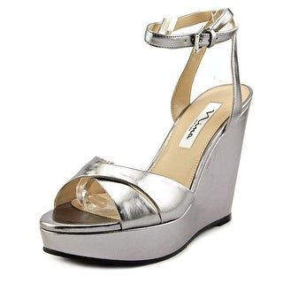 Nina Gianina Women Open Toe Leather Wedge Heel