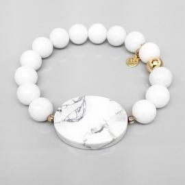 White Jade 'Eye Candy' stretch bracelet 14k over Sterling Silver