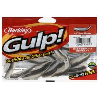 "BerkleyA GMI2-SMLT Plastic Minnow Grub, 2.5"", Smelt Color, 18 Count"