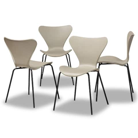 Jaden Modern and Contemporary 4-Piece Plastic/Metal Dining Chair Set