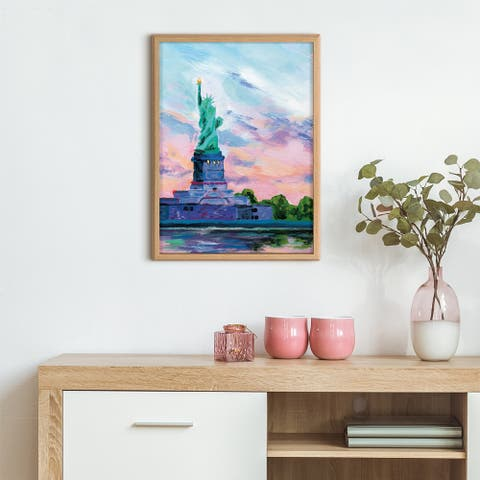 Kate and Laurel Blake Lady Liberty Print Wood by Rachel Christopoulous
