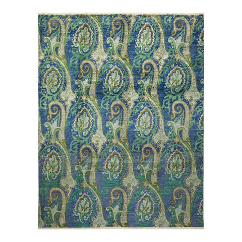 """Suzani, One-of-a-Kind Hand-Knotted Area Rug - Light Blue, 7' 10"""" x 10' 3"""" - 7' 10"""" x 10' 3"""""""