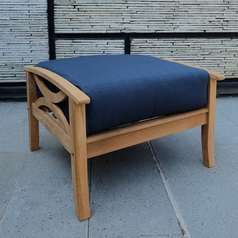 Lowell Teak Patio Ottoman with Cushion by Havenside Home