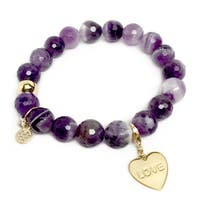 "Purple Amethyst Love Heart Gold Charm Emma 7"" Bracelet"