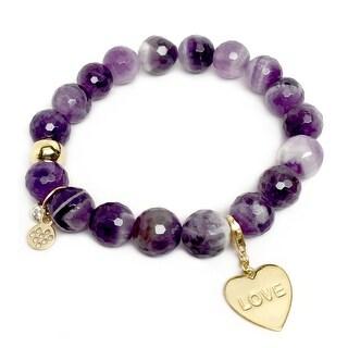 """Purple Amethyst Love Heart Gold Charm Emma 7"""" Bracelet"""