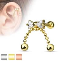 CZ Ribbon with Chained Ball Dangle 316L Surgical Steel Cartilage/Tragus Barbell (Sold Ind.)