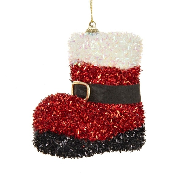 4 red and white tinsel santa boot with buckle decorative christmas ornament