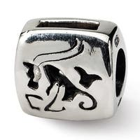 Sterling Silver Reflections Capricorn Zodiac Antiqued Bead (4mm Diameter Hole)