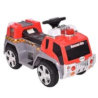 Costway 6V Kids Ride On Rescue Fire Truck Electric Battery Powered w/Lights & Music - Red