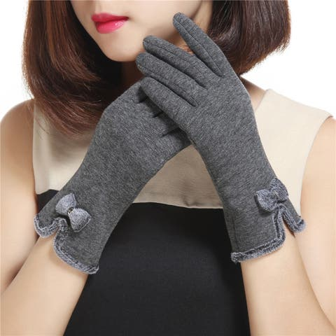 Fashion Lovely Bowknot Women Touch Screen Winter Warm Outdoor Sport Gloves Gift