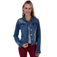 Scully Western Jacket Womens Denim Embroidered Button Closure
