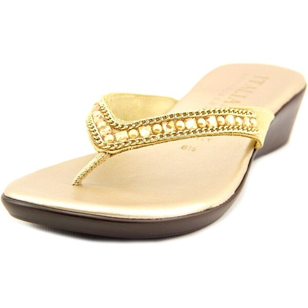 Italian Shoe Makers Hartley Women Open Toe Leather Gold Thong Sandal