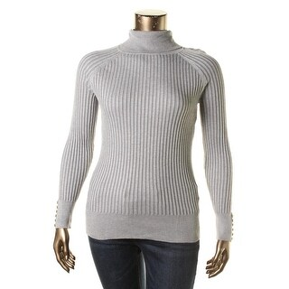 Hooked Up by IOT Womens Juniors Turtleneck Sweater Ribbed Knit Button Detail