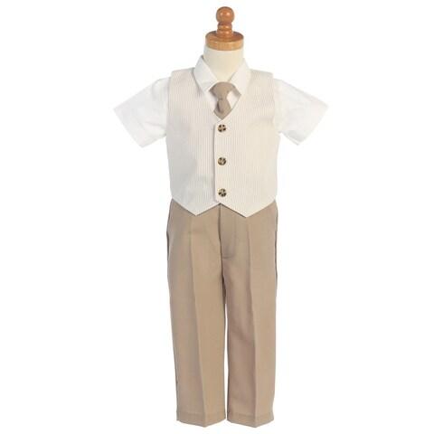 Khaki Seersucker Vest Pant Suit Set Boys 12M-4T