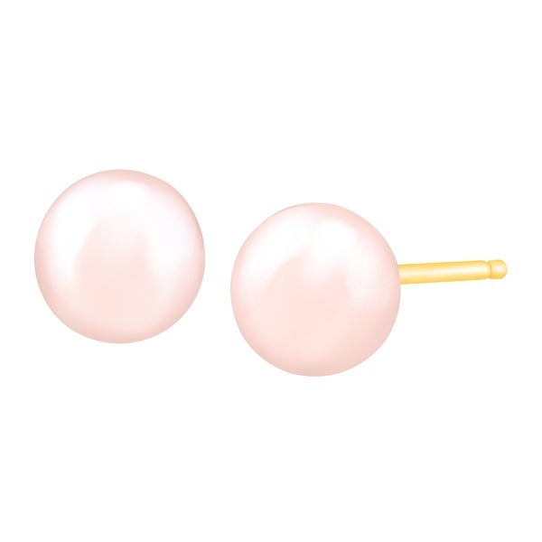 Honora 5-6 mm Rose Freshwater Pearl Stud Earrings in 14K Gold - Pink