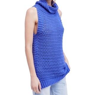 Free People Blue Women's Large L Northern Lights Crochet Sweater