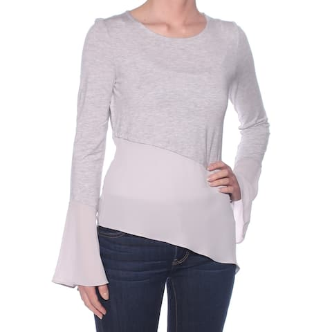 BAR III Womens Gray Sheer Bell Sleeve Jewel Neck Top Size: XL