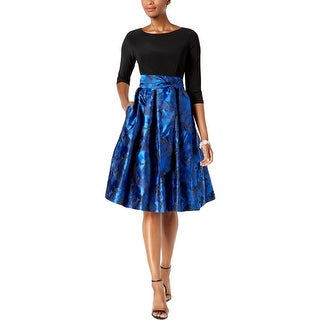 Jessica Howard Womens Cocktail Dress Jacquard Fit & Flare