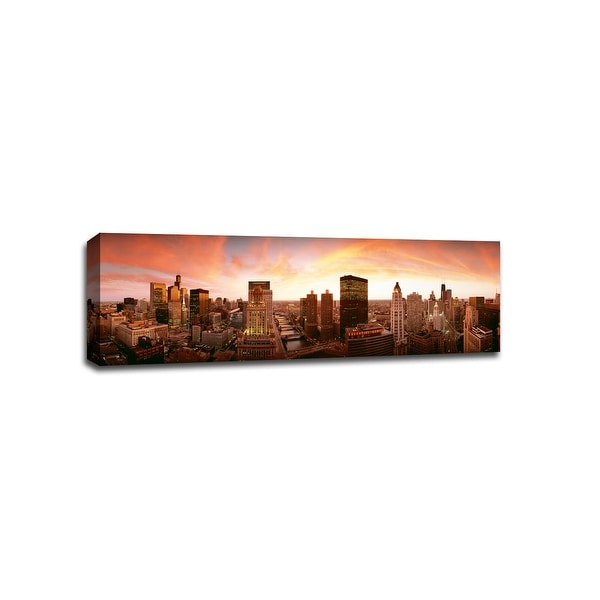 Sunset Skyline Chicago - Sunsets - 48x16 Gallery Wrapped Canvas Wall Art