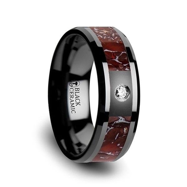Red Dinosaur Bone Inlaid Black Ceramic Diamond Wedding Band With Beveled Edges