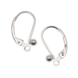 Sterling Silver Earrings Leverbacks With Ball (1 Pair)