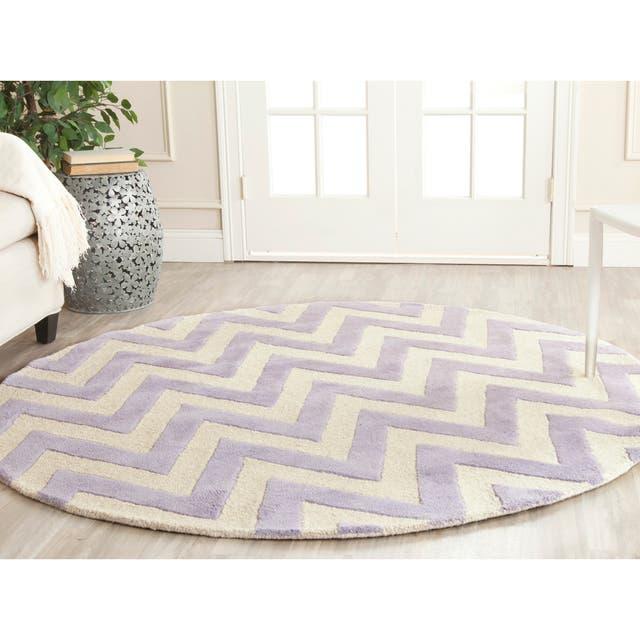 SAFAVIEH Handmade Cambridge Rinda Modern Moroccan Wool Rug - 6' x 6' Round - Lavender/Ivory