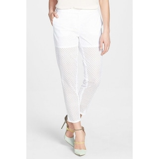 Chelsea28 NEW Bright White Eyelet Women's Size 6 Casual Pants Cotton