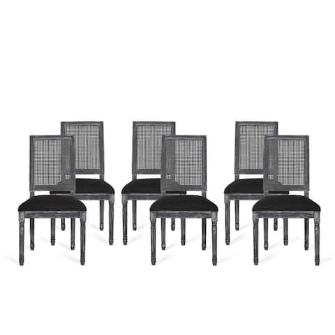 Regina French Country Wood and Cane Upholstered Dining Chair (Set of 6) by Christopher Knight Home