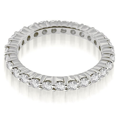 0.85 cttw. 14K White Gold Round Cut Diamond Eternity Band Ring