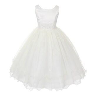 Kids Dream Girls Ivory Satin Lace Beadwork Wire Hem Communion Dress