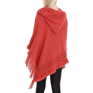 QZUnique Women Hooded Cloak Pullover Batwing Sleeve Loose Poncho Shawl