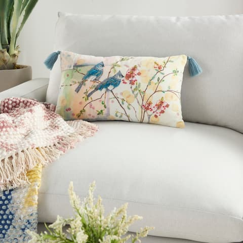 "Mina Victory Sofia Watercolor Floral Modern Blue Jay Multicolor Throw Pillow 12"" x 20"""