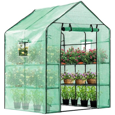 Outdoor Plant Gardening Greenhouse with Shelves and Window