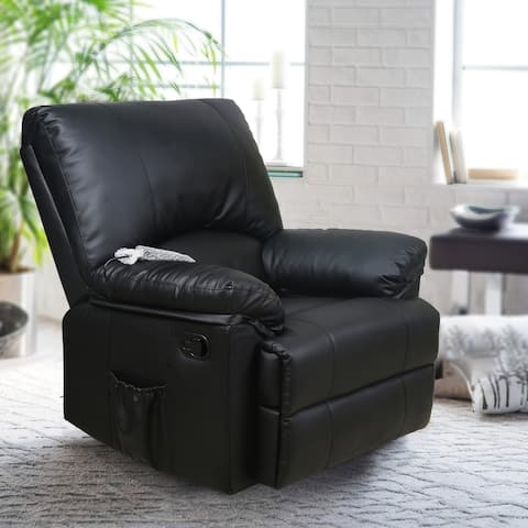 Rocker Recliner with Heated Modern PU Leather Living Room Chair