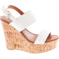 Static Footwear Bunty-02 Women's Platform Wedge Heel Open Toe Single Band Slingback Ankle Strap Pu Sandals - White
