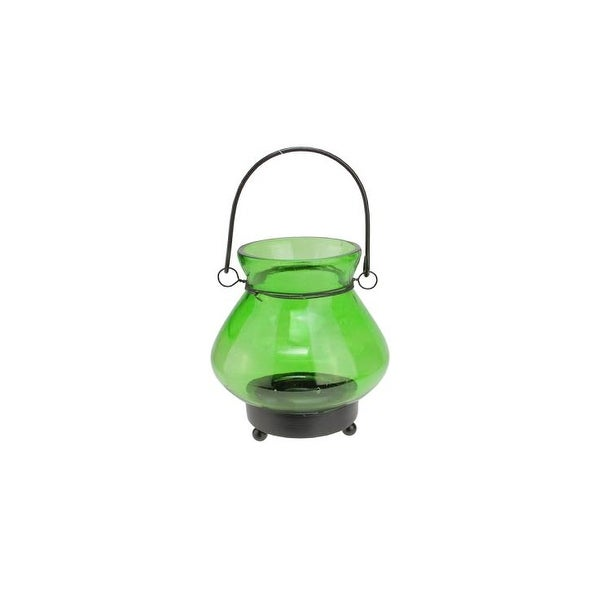 "4.75"" Transparent Green Glass Mini Tea Light Candle Lantern Decoration"