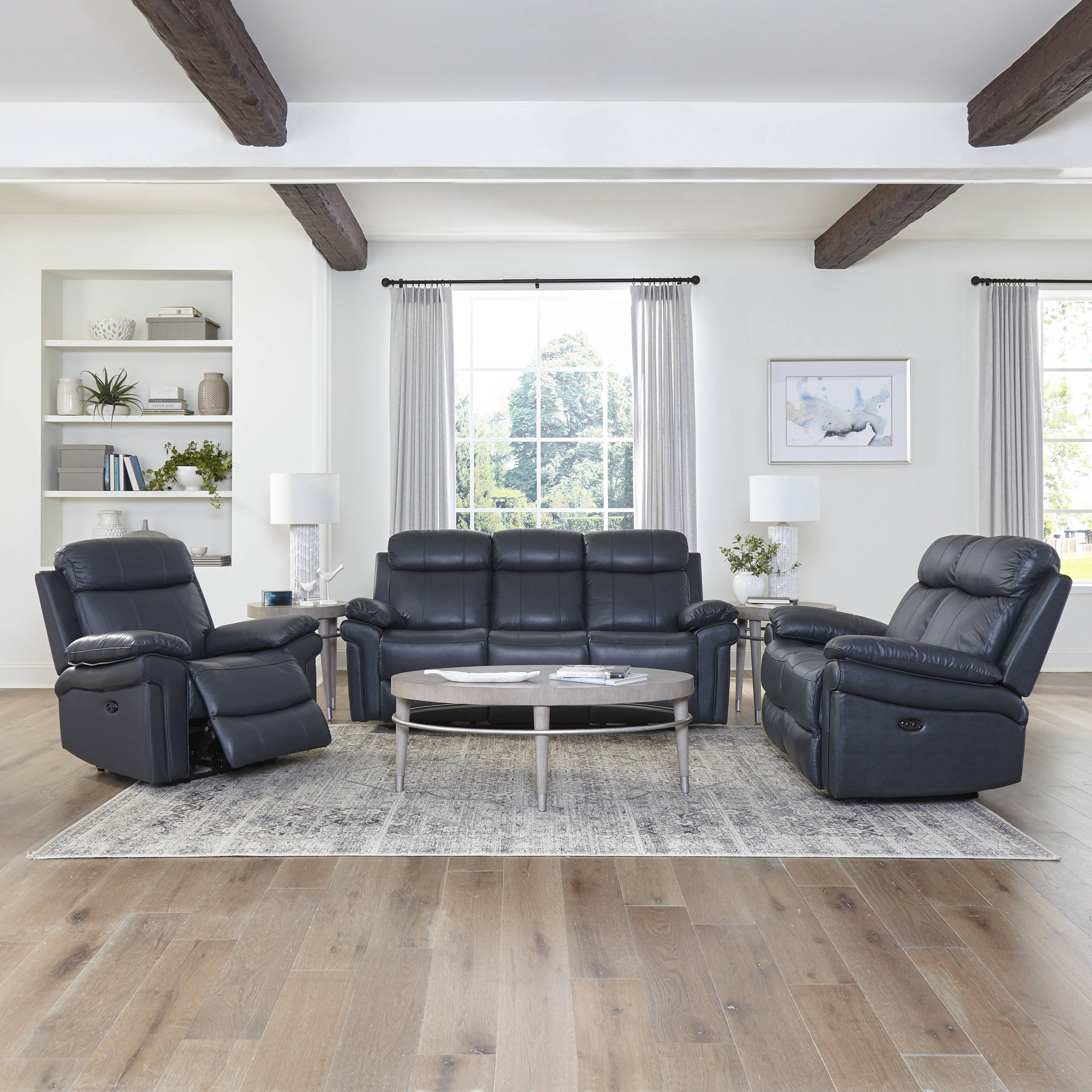 Image of: Shop Black Friday Deals On Hudson Top Grain Leather Power Reclining Living Room Set Brown Blue Overstock 23621868