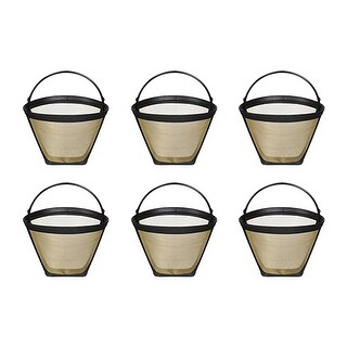 Fits Cuisinart DCC-1400 Coffee Machines Gold Tone Filter (6 Pack)
