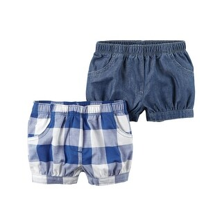 Carter's Girls' 2-Pack Chambray Checkered Shorts- 12 Months