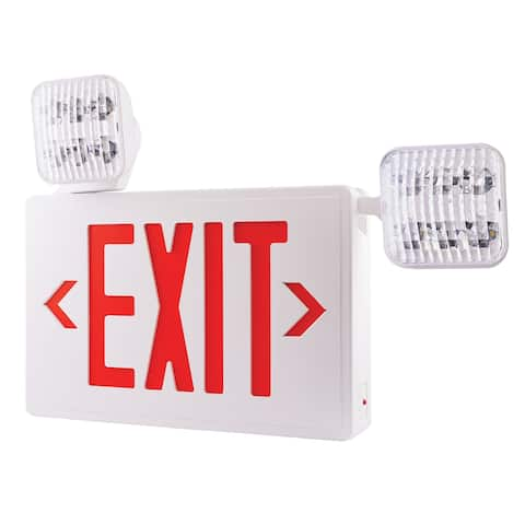 "Elco EE93H 22"" Wide LED Exit Sign with Adjustable Emergency Light Heads - - White / Red"
