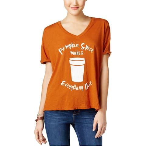 Retro Brand Womens Pumpking Spice Graphic T-Shirt, brown, X-Small
